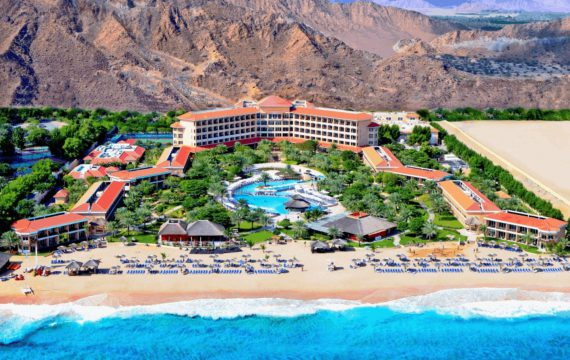 Drone footage of Fujairah Rotana Resort | UAE – Al Aqah Beach