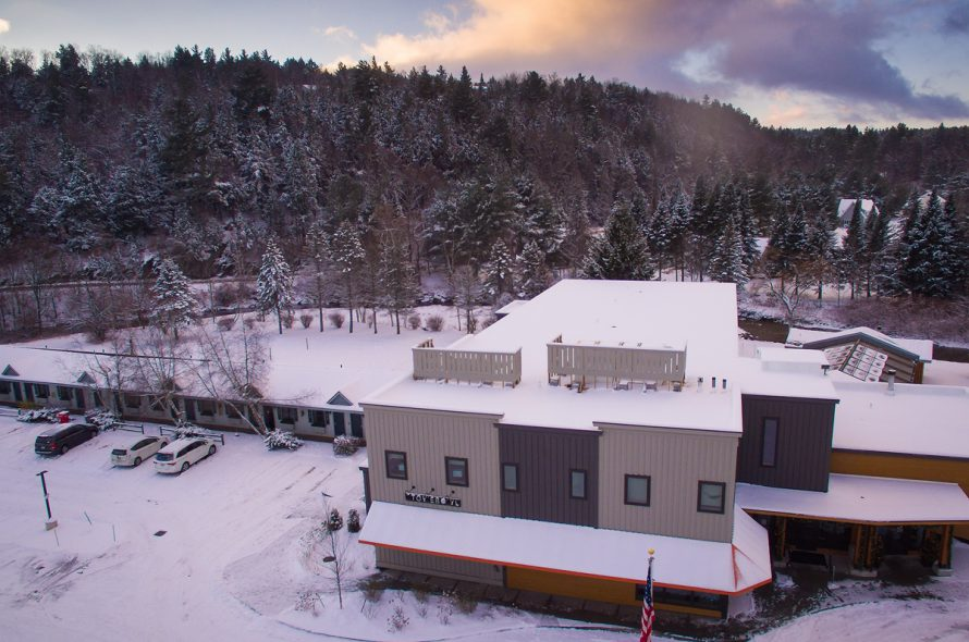 Drone footage of Sun & Ski Inn and Suites